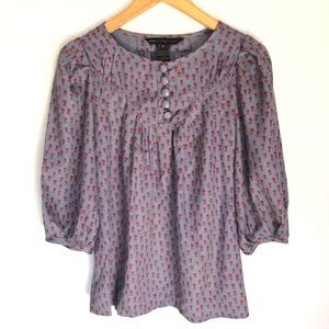Mark by Marc Jacobs Floral Silk Blouse Top 0